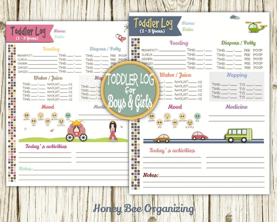 toddler log printable nanny log babysitter report