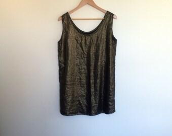 gold linen shift dress handmade