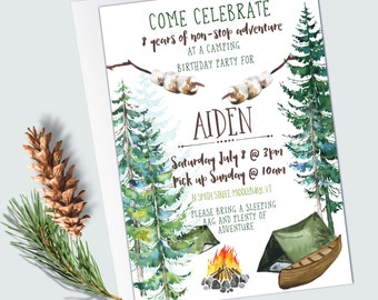 Camping Birthday Invitations - EDITABLE INSTANT DOWNLOAD - Camping Party - Woodland/Forest - Tent Birthday Invitations - Campfire Party