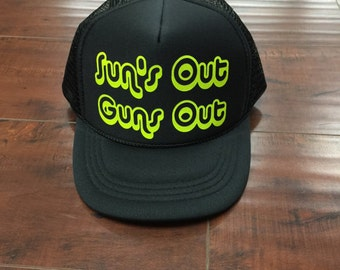Sun's Out Guns Out Trucker Hat Youth Trucker River Boys Boy