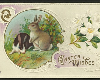 Vintage Embossed Easter Greetings of 2 Bunnies or Rabbits and Easter Lillies - Easter Wishes   (1643)
