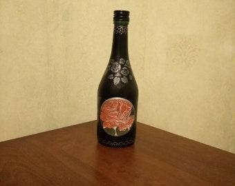 Handmade Black bottle with rose home decor room decor gift carafe kitchen decor