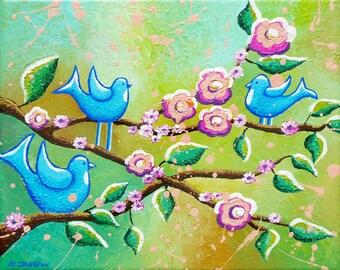 Blue Bird Art - Whimsical Art - Vintage Style Art - 8x10