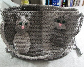 Crochet cat applique etsy crochet pattern two color cat applique purse cat applique tote bag dt1010fo