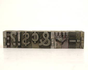 Vintage Metal Letterpress Type Punctuation Marks / Money Symbols