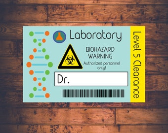Science Lab Name Badge - Printable Customizable Scientist Lab Name Tag - Science Birthday Party - Scientist Lab ID Badge - Mad Science
