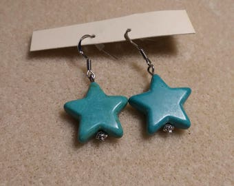 Glass terqrouis stars earrings