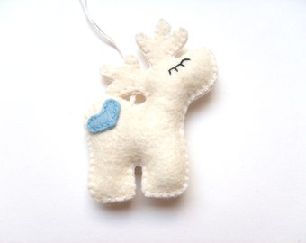 Felt Christmas ornament - reindeer - hanging home decor - baby shower gifts - for him baby boy - white and blue - Rudolf - woodland animals