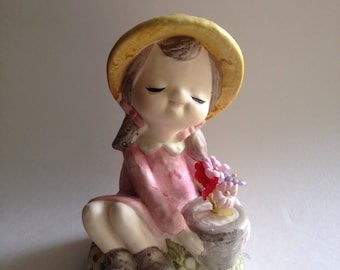 Garden Girl by NORLEANS Japan sweet girl with pink dress and potted plant