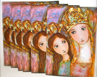Ora Pro Nobis - Pray for Us - Saint Anne & Mary -  Blank Cards - Pack of 6 - Folk Art By FLOR LARIOS