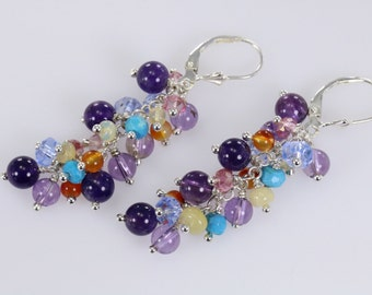 Zambian Amethyst, sleeping beauty turquoise, Ethiopian Opal, blue kyanite, mystic pink topaz wire wrapped lever back cluster earrings