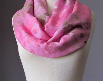 Tea Rose Pink Floral infinity scarf luxe feeling soft as silk Pashmina effortless glamour day after day women accessories