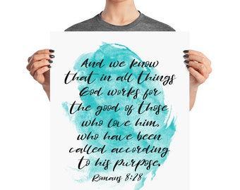 Romans 8 28 Poster - Bible Verse - Romans 8 28 Print