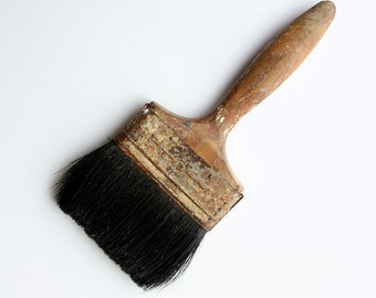 Vintage large paint brush with wooden handle Rustic wall ceiling painters tool Old rusty patina brush Country Cottage chic Shabby chic decor