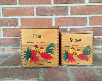Vintage Canisters Roosters Flour Sugar Storage Wooden Kitchen Canister Set