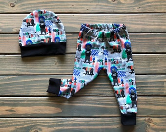 Baby boy clothes, bear baby clothes, trendy boy, baby boy leggings, baby pant and hat set, baby boy gift, trendy toddler, new baby