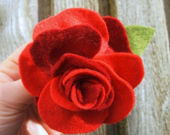 Felt Flower Rose Brooch, Romantic Red Rose Felt Brooch, Hand Sewn Flower Corsage, Two Tone Crimson, Large Red Floral Pin, Red Wedding