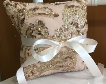 "Gold Rose Sequins Ring Bearer Pillow, Wedding Pillow 8""X8"", Rings Pillow"