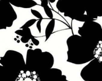 Big Floral in Black on White by Camelot Fabrics - 1/4 yard