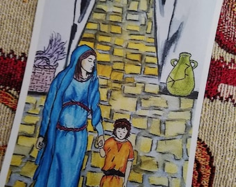 MOTHER AND CHILD - Mary and Jesus Art Print - Watorcolour Art, Gifts for Her, Gifts For Him, Nursery Art, Catholic Art, Christian Art