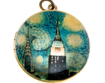Photo Locket, Image Locket, Art Locket, Picture Locket, Brass Locket - Empire State Building on a Starry Night