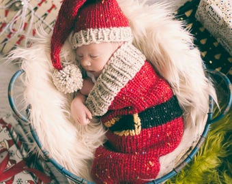 Loom Knit Santa Christmas Cocoon and Santa Hat Pattern. Make This Newborn Swaddler and Elf Hat for Baby Using This PDF Loom Knitting PATTERN
