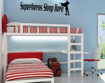 Superheros sleep here, Superhero room, Superhero Sticker, kids room, A Superhero sleeps here, kids decal, boys room decal, superhero