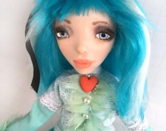 ooak doll Alice in Wonderland Aqua Blue original art doll by pearlmoonarts