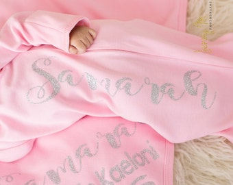 Personalized newborn girl name gown. Pink and silver outfit. Newborn girl coming home outfit. Baby girl hospital outfit, Hat sold separately