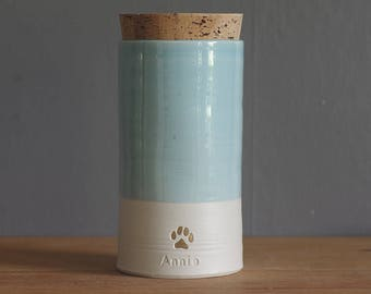 Custom urn with gold, straight shape. choice of color, name, date. Modern White porcelain, blue glaze urn by vitrifiedstudio.