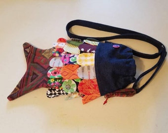 Denim crossbody fish purse, drawstring mouth, secret pockets