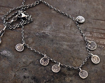 minimal delicate necklace with raw sterling silver  • tiny silver disc  • oxidized silver • gift for her • simple gift for her
