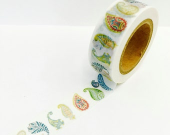 Paisley Blue Green  Flower Paper Washi Tape Scrapbooking Decorate Sticker - Planners -Spring - Tea Party - Garden -(2189)