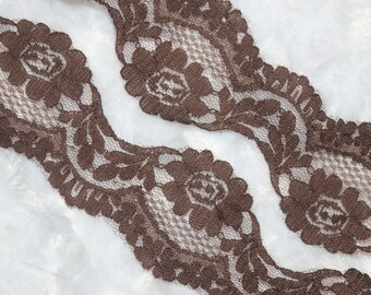 """5 yards chocolate brown non stretch rigid sewing scalloped lace 1.75"""" wide G"""