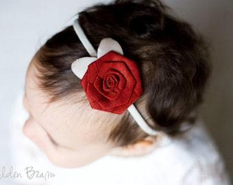 Rose Baby Headbands - Dark Red Rose cream Leaves Handmade Baby Headband - Baby to Adult Headband