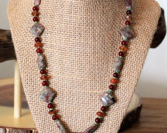 SALE:Red Fall Leaf Necklace