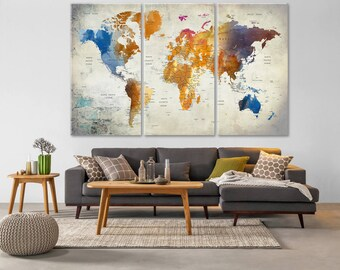World map canvas etsy world map push pin world map canvas world map wall art large world gumiabroncs Image collections