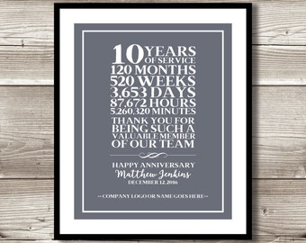 company thank you etsy rh etsy com 10 year job anniversary gift ideas 10 year job anniversary ideas