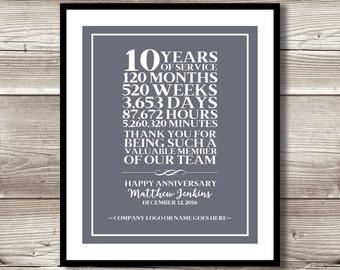 company thank you etsy rh etsy com 10 year job anniversary gift ideas 10 year job anniversary ideas