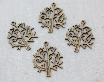 Antique Bronze Winter Tree Pendant Charms 32mm