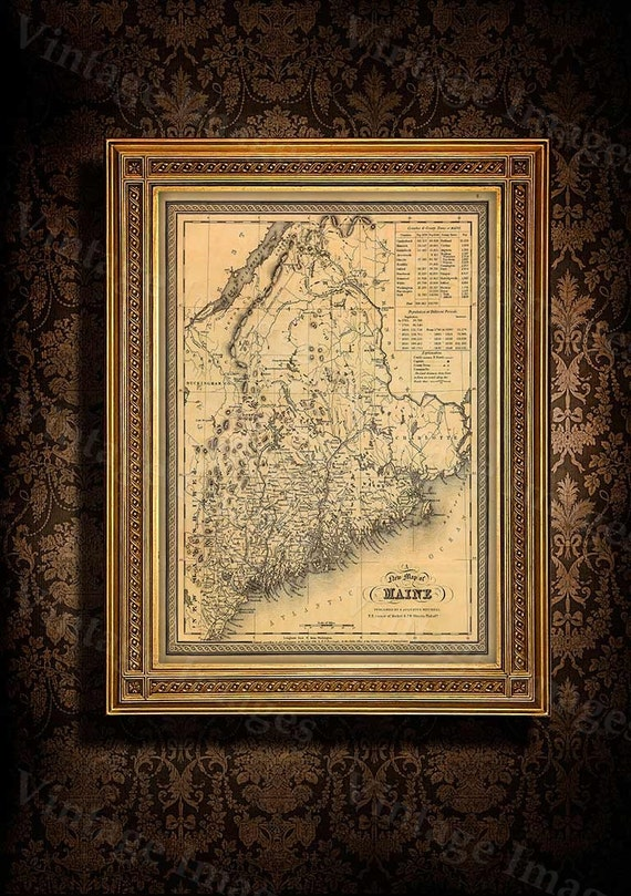 Map of Maine 1846 Old Maine Map Old Historic Map of Maine Antique Restoration Style Maine state Wall Map home office decor housewarming gift