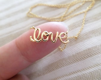 Gold, Rose Gold or Silver Love Necklace, Love Script Necklace, Cursive Writing Love Necklace, Letter Love Necklace, Wedding, Bridesmaid Gift