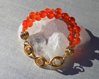 Bracelet orange Topaz (gemstone), 24 K gold plated chain.