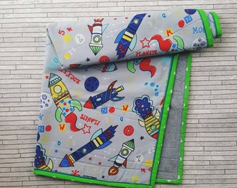 Baby quilt, Baby blanket, Play mat, Pram accessories, space ships, rockets, 100% cotton, Fleece, Improvhighland