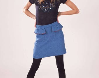 blue wool pockets flounced with polka dots skirt