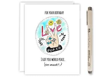 Best Friend Birthday - Card for Boyfriend - Card for Girlfriend - Funny Birthday Card - for Sister - Card for Mom - Peace Sign Hand