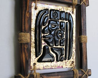 Fused Glass Wall Art, Glass Art, Aztec Art, Ethno, Abstract Fused Glass Art Panel, Mexican Symbolic Image
