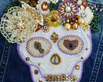 Skull stripe.beads, rhinestones, beads, handmade, style, fashion, jewelry