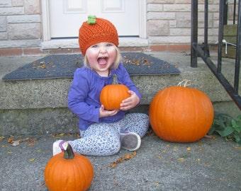 Crochet Pumpkin Hat - Fall Harvest hat - Pumpkin Beanie - Hallowe'en hat - Halloween costume - baby and toddler orange hat - fall photos hat