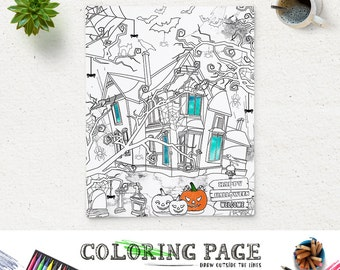 Coloring Halloween Coloring Page Printable Haunted House Party Coloring Pages Instant Download Digital Art Holiday Adult Coloring Book